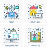 Technologiepictogrammen en conceptenillustraties stock illustratie