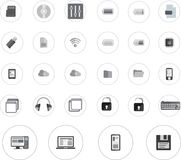 Technologiepictogrammen geplaatst black&white ronde Stock Afbeelding