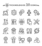 Technologies Black Icons on White Background Stock Image