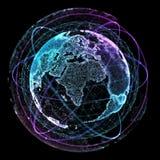 Technologies d'Internet de réseau global Carte du monde de Digital illustration 3D illustration libre de droits