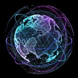 Technologies d'Internet de réseau global Carte du monde de Digital illustration 3D illustration stock