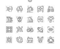 Technologies de la future ligne mince Bien-ouvrée icônes de vecteur parfait de pixel illustration libre de droits
