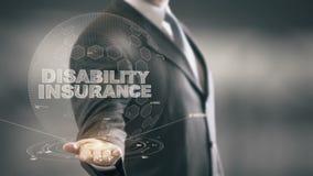 Technologies disponibles d'hologramme de Holding d'homme d'affaires d'assurance invalidité  illustration stock