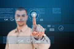 Technologies of the future. Man using technologies of the future Royalty Free Stock Image