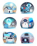 Technologies Of Future Compositions Set royalty free illustration