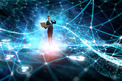 Technologies that impress . Mixed media. Young businesswoman or IT manager with laptop in hands in connection cyberspace. 3D rendering Stock Photography