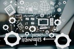Technologies, information and social media. Creative technologies, information and social media sketch vector illustration