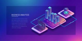 Technologies numériques dans les affaires Analyse fonctionnelle de Digital des affaires Graphique de croissance d'affaires Portef illustration de vecteur