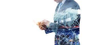 Technologies pour des affaires globales Media mélangé illustration stock