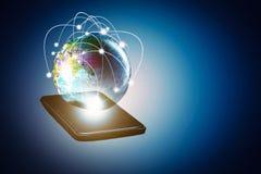 Technologies reliant le monde du réseau de socail, media mélangé Photos stock