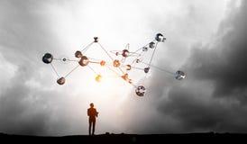 Technologies reliant le monde Media mélangé Images libres de droits