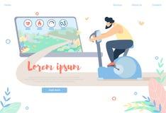 Male Character Training on Exercise Bike, Sport stock illustration