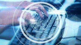 Technologieschnittstelle über dem Handschreiben stock video footage