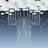 Technologiewolke und -regen unbegrenzt vektor abbildung