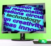 Technologieword die Innovatiesoftware betekenen en hallo Technologie Royalty-vrije Stock Afbeeldingen