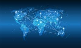 Technologii Światowa mapa, Globalni środki przeniesienie, Głęboki Błękitny gradient, Podłączeniowy pojęcie Cyfrowej sieci projekt fotografia stock
