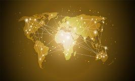 Technologii Światowa mapa, Globalni środki przeniesienie, Złoty gradient, Podłączeniowy pojęcie Cyfrowej sieci projekt Dla strony obraz stock
