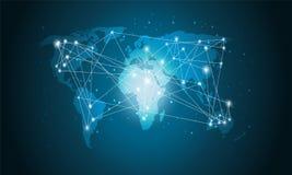 Technologii Światowa mapa, Globalny środka przeniesienie, Podłączeniowy pojęcie Cyfrowej sieci projekt Dla strony internetowej obrazy royalty free