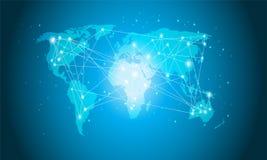 Technologii Światowa mapa, Globalny środka przeniesienie, Podłączeniowy pojęcie Cyfrowej sieci projekt Dla strony internetowej zdjęcie stock