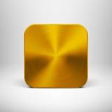 Technologii App ikona z Złocistą metal teksturą royalty ilustracja