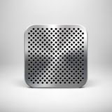 Technologii App ikony szablon z metal teksturą royalty ilustracja