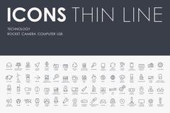 Technologii Cienkie Kreskowe ikony Fotografia Stock