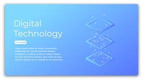 Technologii cyfrowej isometric pojęcie Ilustracja dane analiza, duży dane - przetwarzający, obłoczny obliczać futurystyczny Zdjęcia Royalty Free
