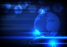 Technologii cyfrowej pojęcie, błękitny rozjarzony światło i sześciokąty na d, Ilustracji