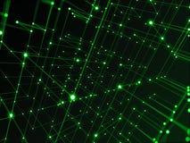 Technologii cyfrowej sieć łączy z kreskowym abstrakcjonistycznym tłem, zielony temat Obrazy Royalty Free