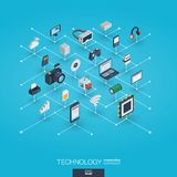 Technologii 3d sieci zintegrowane ikony Cyfrowej sieci isometric pojęcie Fotografia Royalty Free