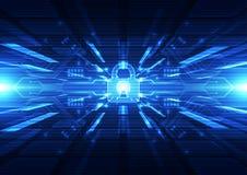 Technologii futurystyczny cyfrowy Technologia związek Technologii ochrona abstrakcyjny tło wektor royalty ilustracja