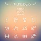 Technologii ikony cienki kreskowy set Obraz Stock