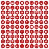 100 technologii informacyjnych ikon sześciokąta czerwień ilustracji