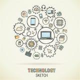 Technologii ręki remisu nakreślenia ikony ilustracji