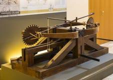 Technologisch Technisch die Museum na Leonardo Da Vinci Department, expositie wordt genoemd van de modellen van apparaten en tech royalty-vrije stock afbeelding