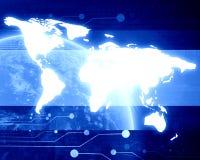 Technologische blauwe aarde Stock Foto