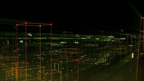 Technologische digitale achtergrond die uit een futuristische stad met gegevens bestaan looped stock videobeelden
