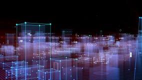 Technologische digitale achtergrond die uit een futuristische stad met gegevens bestaan looped stock footage