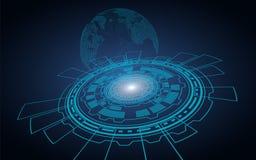 Technologische donkere achtergrond Computercirkel waarvan er een hologram van aarde is royalty-vrije illustratie
