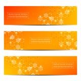 Technologische en wetenschappelijke banners met hexagonale molecule Geometrische abstracte achtergrond Wetenschap, technologie of Stock Afbeeldingen