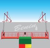 Technologische Hebemaschine und die Flagge von Benin Stockbild
