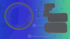 Technologische lijsten en digitale achtergrond, het 3d teruggeven stock illustratie