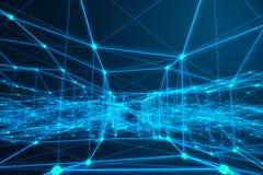 Technologische verbindings futuristische vorm, blauw puntnetwerk, abstracte achtergrond, blauwe achtergrond, Concept Netwerk Stock Afbeelding