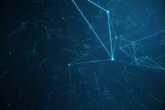 Technologische verbindings futuristische vorm, blauw puntnetwerk, abstracte achtergrond, blauwe achtergrond, Concept Netwerk stock illustratie
