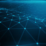 Technologische Verbindung im Wolkencomputer, blaues Punktnetz, abstrakter Hintergrund, Konzept der Netz-Darstellung Lizenzfreie Stockbilder