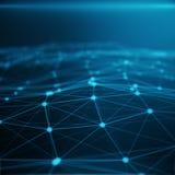 Technologische Verbindung im Wolkencomputer, blaues Punktnetz, abstrakter Hintergrund, Konzept der Netz-Darstellung Lizenzfreies Stockbild