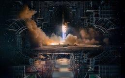 Technologischer Entwurf in der Produkteinführung des offenen Raumes und der Rakete stockfotos