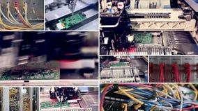 technologischer Hintergrund Automatisierte Leiterplatteproduktion Videowand Monitoren, Schirme in der Bewegung stock video footage