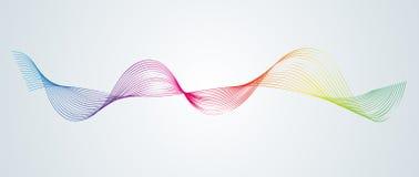 Technologischer Hintergrund des abstrakten glatten Gestaltungselements der gekrümmten Linien mit einer Linie in Form eines Welle  stock abbildung