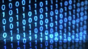 Technologischer Störschubhintergrund binärer Daten Digital mit binär Code Binärstellen 1 und 0 auf blauem Hintergrund lizenzfreie abbildung
